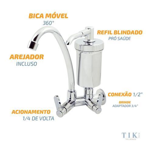 Imagem de Torneira Com Filtro Bica Móvel Parede Slim 1/4 De Volta Abs