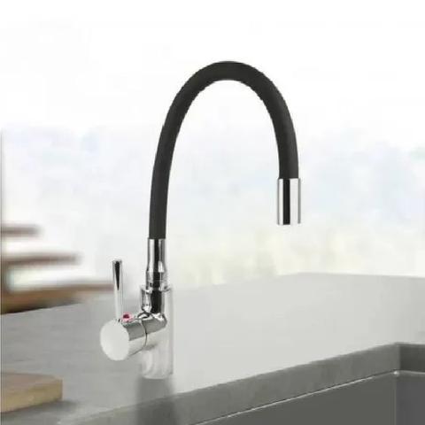 Imagem de Torneira de Cozinha Monocomando de Mesa Bica Flexível Preta