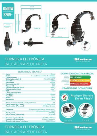 Imagem de Torneira Elétrica Eletrônica Preta 220v 6.500w Tel270 Sintex