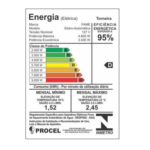 Imagem de Torneira Elétrica Fame De Parede Bica Móvel 127V 4400W