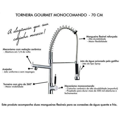 Imagem de Torneira gourmet ducha e jato extensor misturador para cozinha com spray extensivel monocomando