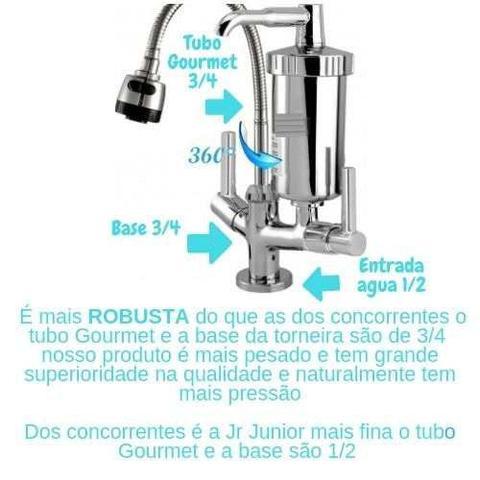 Imagem de Torneira Metal Com Filtro ABS Gourmet Pia Mesa Cozinha Bancada GBA