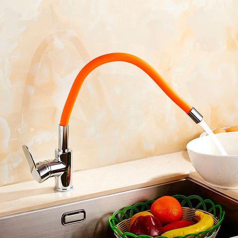 Imagem de Torneira Misturador Monocomando Cozinha Bica Móvel Alta Colors Laranja - Premierdecor