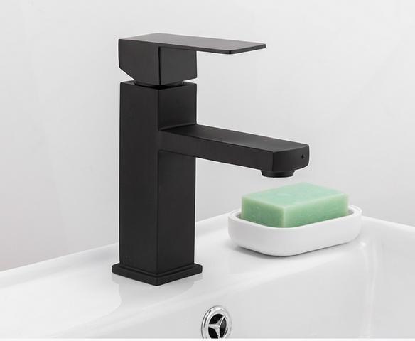 Imagem de Torneira Preta Banheiro Monocomando Lavabo Bica Baixa