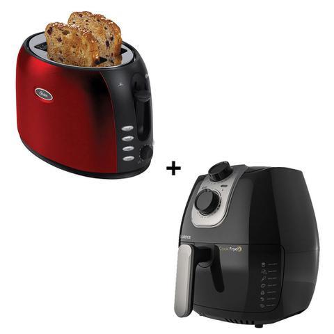 Imagem de Torradeira BBKR 220V Chrome Vermelha - Oster + Fritadeira Sem óleo 2,6L Cook Fryer - Cadence