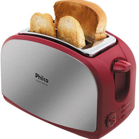 Imagem de Torradeira French Toast Inox Philco com 8 Opções de Tostagem - Aço Escovado/Vermelha 127V