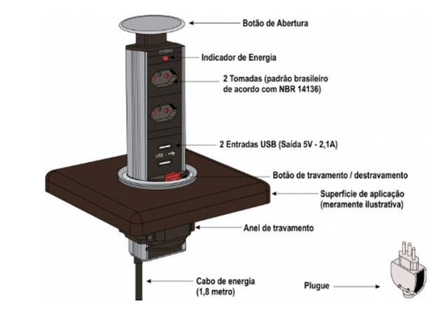 Imagem de Torre de 2 Tomadas com 2 USB
