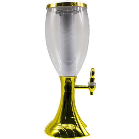 Imagem de Torre De Chopp dourada 2 Litros com iluminação de led colorido  Dourada