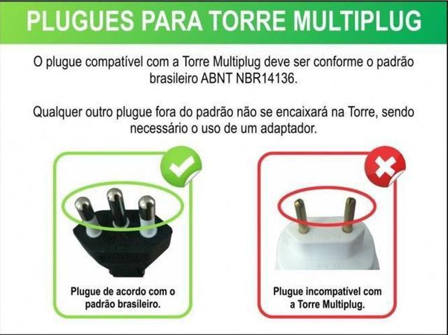 Imagem de Torre De Tomadas Multiplug Renna 3500W  Prata/preto Bivolt