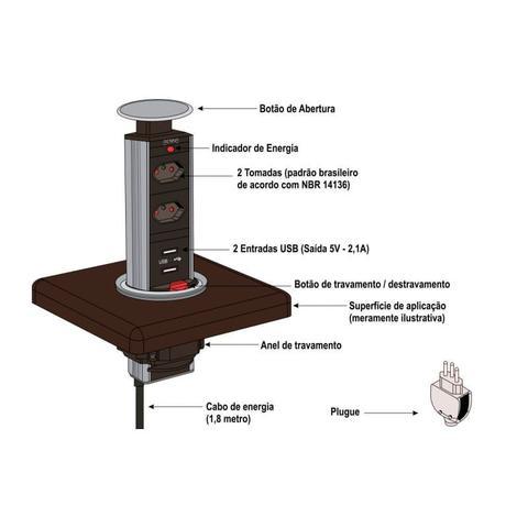 Imagem de Torre multiplug 3 tomadas push