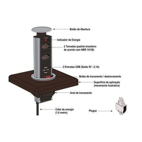 Imagem de Torre multiplug com 2 tomadas + usb to open