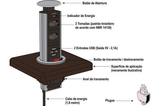 Imagem de Torre Multiplug Usb C/ 2 Tomadas Renna