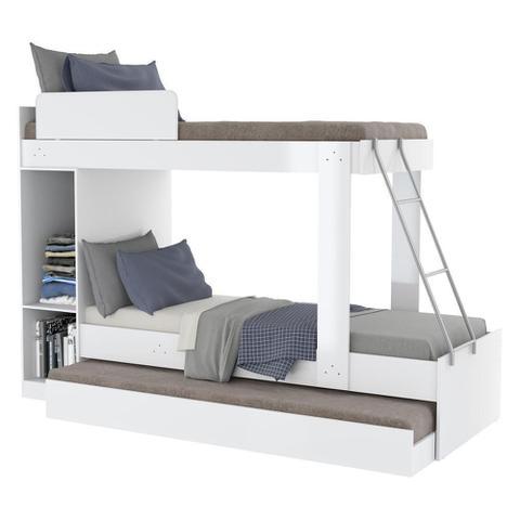 Imagem de Treliche com Barra de Proteção Multimóveis para colchão 188 x 78 cm Branco
