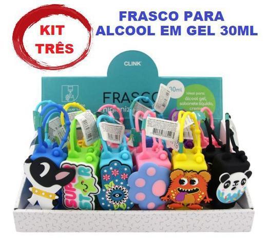 Imagem de Três chaveiro de bolsa higienizador alcool em gel 30ml cores