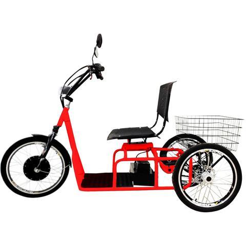 Imagem de Triciclo Elétrico 800W Freio a Disco com Ré Farol e Alarme Confort Vermelho