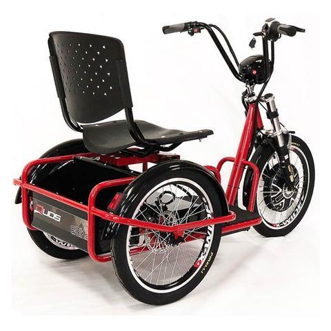 Imagem de Triciclo Elétrico Lithium Freio a Disco com Ré Farol e Alarme Fox Vermelho - Duos Bike