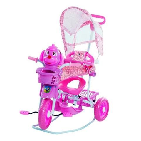 Imagem de Triciclo Gangorra Motoca Musical Cachorrinho com Capota 3 Em 1 Balanço Pedal Rosa 910700 BELFIX