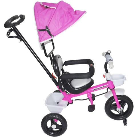 Imagem de Triciclo Infantil com Capota Haste Empurrador com Pedal Motoca 2 em 1 Brinqway BW-084RS Rosa