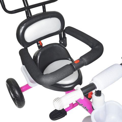 Imagem de Triciclo Infantil com Capota Haste Empurrador com Pedal Motoca 2 em 1 Reforçado Brinqway BW-084