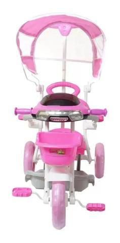 Imagem de Triciclo Infantil Motoca Passeio Som Luz Empurrador Rosa