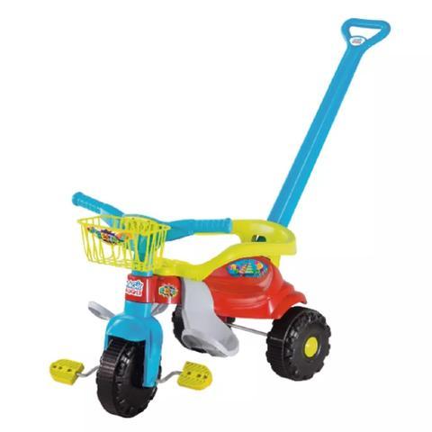 Imagem de Triciclo Infantil Motoca Tico Tico Festa Azul Com Aro Protetor, Haste E Cestinha - Magictoys