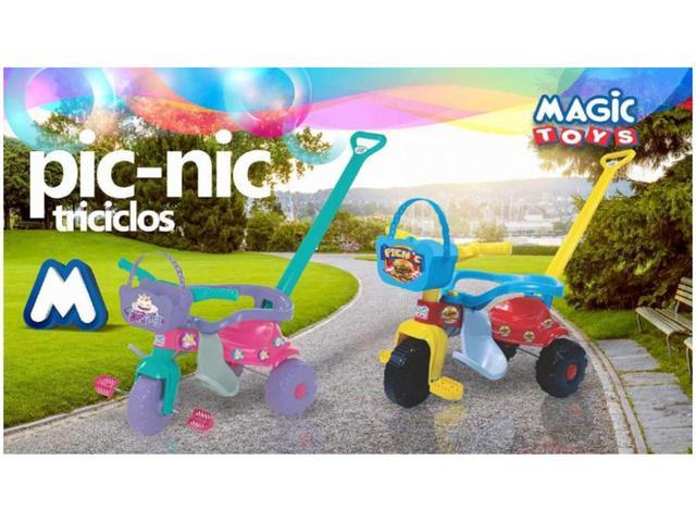 Imagem de Triciclo Infantil Pic-Nic com Empurrador Cestinha