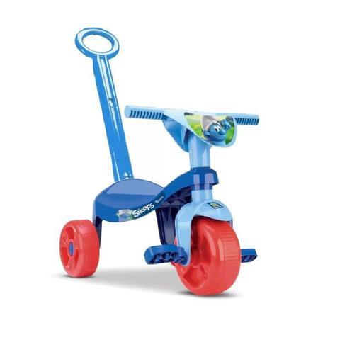 Imagem de Triciclo tico tico velotrol velocipede tchuco com haste os smurfs