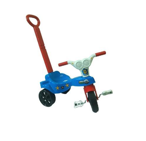 Imagem de triciclo velotrol infantil kepler motoca azul policia com empurrador