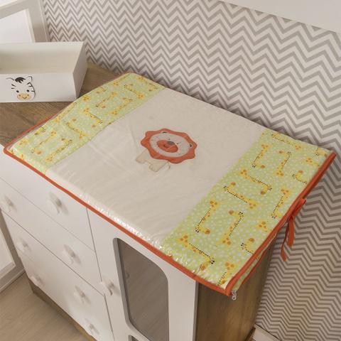 Imagem de Trocador Para Cômoda De Bebe 02 Peças 70cm x 50cm Tecido Misto Leãozinho - Amarelo
