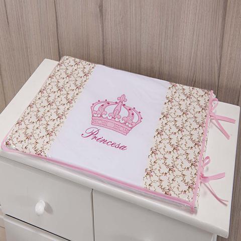 Imagem de Trocador Para Cômoda De Bebe 02 Peças 70cm x 50cm Tecido Misto  Menina Princesa Imperial - Rosa