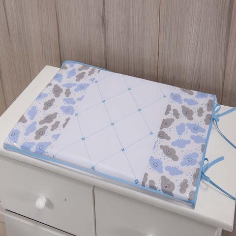 Imagem de Trocador Para Cômoda De Bebe 02 Peças 70cm x 50cm Tecido Misto Menino Nuvem - Azul Claro