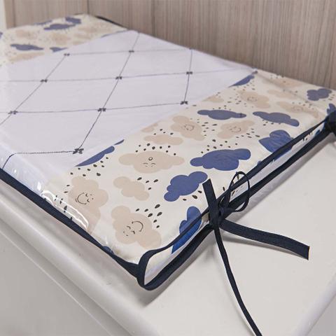 Imagem de Trocador Para Cômoda De Bebe 02 Peças 70cm x 50cm Tecido Misto Menino  Nuvem - Azul Marinho