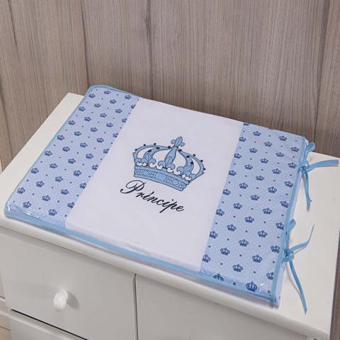Imagem de Trocador Para Cômoda De Bebe 02 Peças 70cm x 50cm Tecido Misto  Menino Príncipe Imperial - Azul Claro