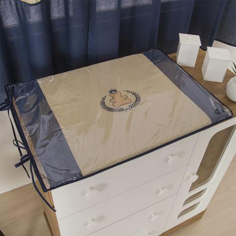 Imagem de Trocador Para Cômoda De Bebe 02 Peças 70cm x 50cm Tecido Misto Menino Ursinho Ted  - Azul Marinho
