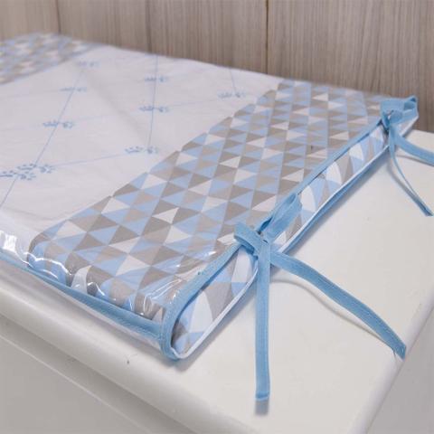 Imagem de Trocador Para Cômoda De Bebe 02 Peças 70cm x 50cm Tecido Misto Menino Urso - Azul Claro