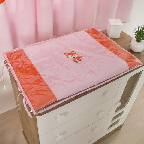 Imagem de Trocador Para Cômoda De Bebe 02 Peças 70cm x 50cm Tecido Misto  Raposinha - Rosa