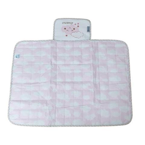 Imagem de Trocador Portatil Bebe de Bolsa Impermeavel Tecido Nuvem Rosa