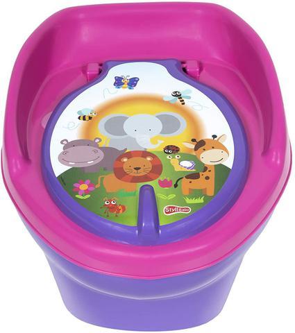Imagem de Troninho Infantil Bebê Pinico 2 em 1 Bichinhos Lilas Musical