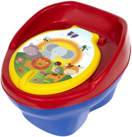 Imagem de Troninho Pinico Comum Infantil Bichinhos Azul Bic e Vermelho