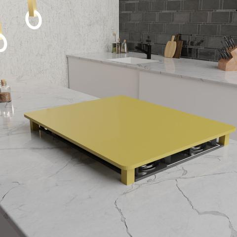 Imagem de TTampa para Cooktop 4 Bocas 57,1 x 46,5 cm Electrolux Madeira MDF Laqueado Amarelo