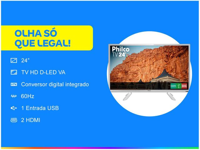 "Imagem de TV HD D-LED 24"" Philco PTV24C10DB"