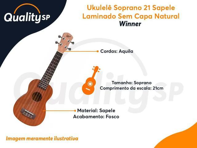 Imagem de Ukulelê Soprano Winner 21 Sapele Laminado Sem Capa Natural