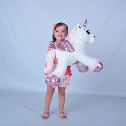 Imagem de Unicórnio Pelúcia Gigante Bebê Fofinho Branco 64cm