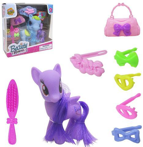 Imagem de Unicornio / poney de vinil com crina e calda + acessorios beauty horse 9 pecas colors