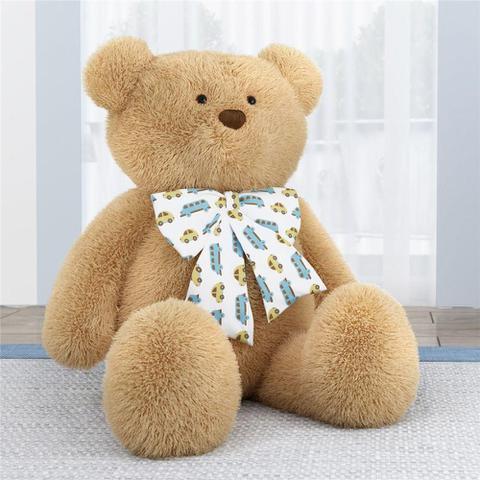 Imagem de Urso Bege Gigante com Laço Carrinho Amarelo 1m Grão de Gente