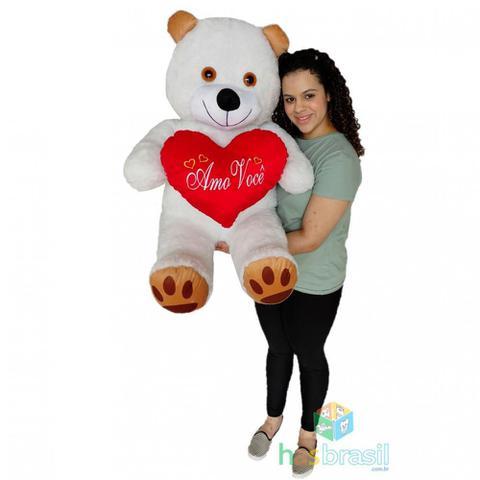 Imagem de Urso de Pelúcia Gigante 1 Metro com almofada de coração Amo Você