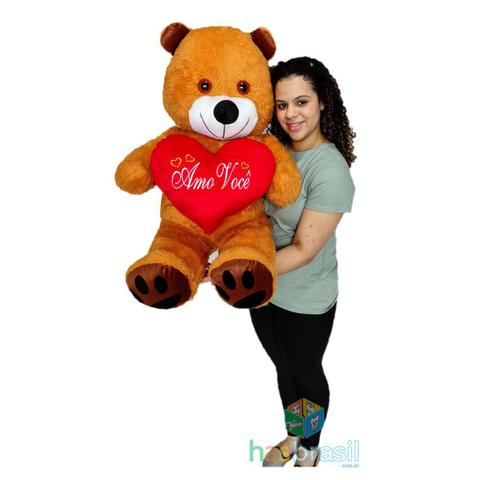 Imagem de Urso de Pelúcia Gigante Caramelo 1 Metro Amo Você