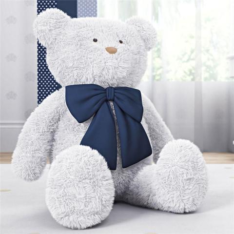 Imagem de Urso Gigante Branco com Laço Azul Marinho 1m Grão de Gente