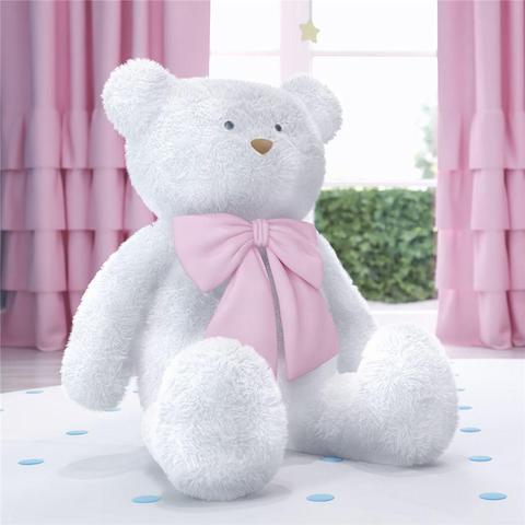 Imagem de Urso Gigante Branco com Laço Rosa 1m Grão de Gente