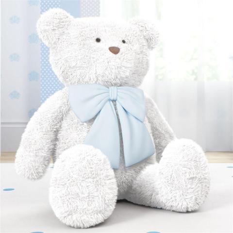 Imagem de Urso Gigante Branco Laço Azul 1m Grão de Gente